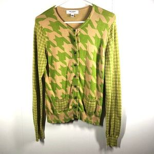 Isaac Mizrahi Green Houndstooth Cardigan Medium
